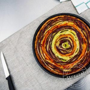 Tarte fleur Gemüsequiche in Rosen-Optik