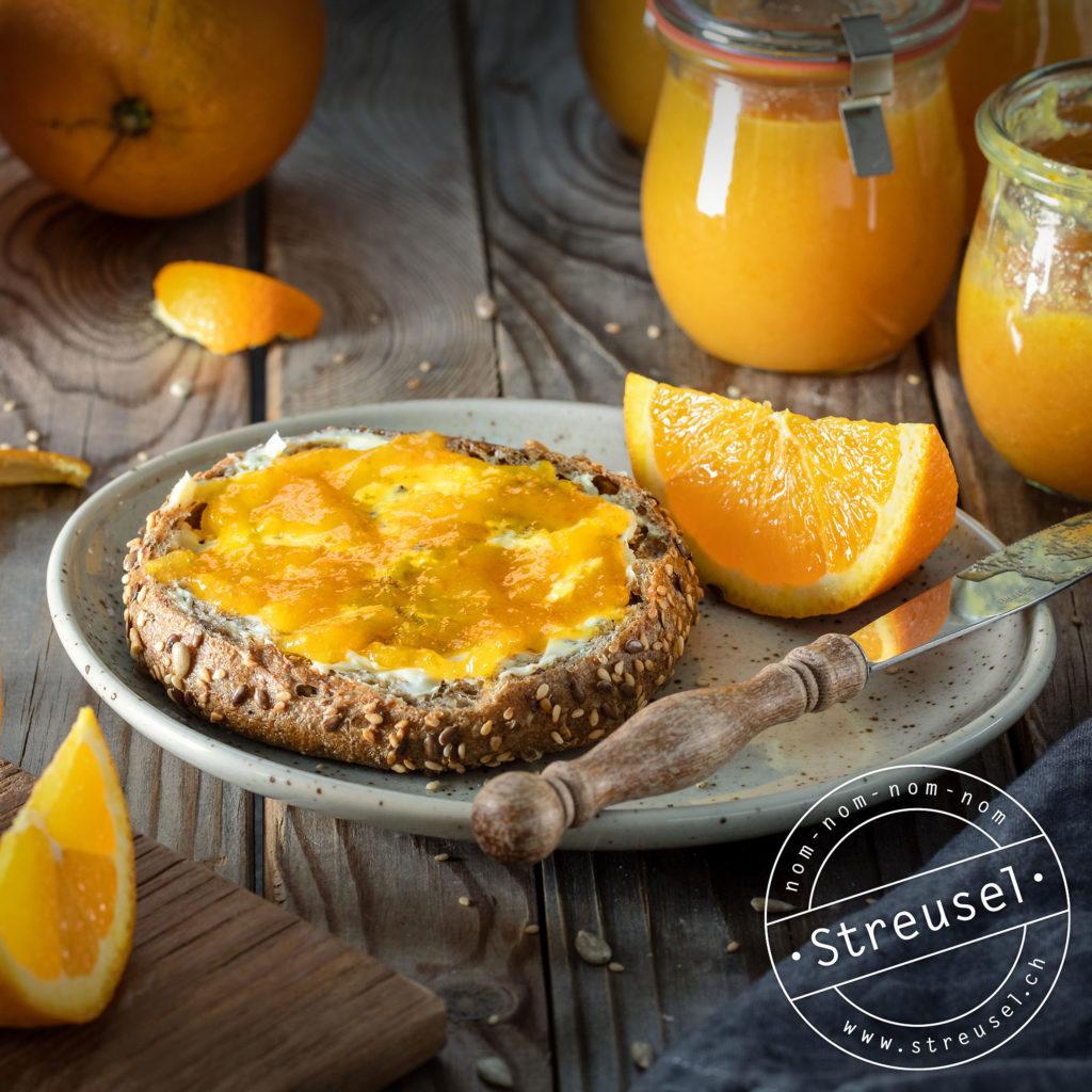 Rezept für selbst gemachte Orangenmarmelade (ohne Gelierzucker).