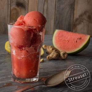 Rezept für Wassermelonen-Sorbet (Eis) mit Ingwer und Zitrone – selber machen