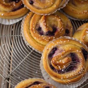 Rezept für Blaubeer-Vanilleschnecken – selber machen