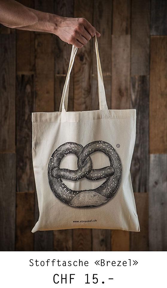 Lässige Stofftasche «Brezel» von Streusel – die Stofftasche mit Brezel-Aufdruck. Jetzt bestellen!