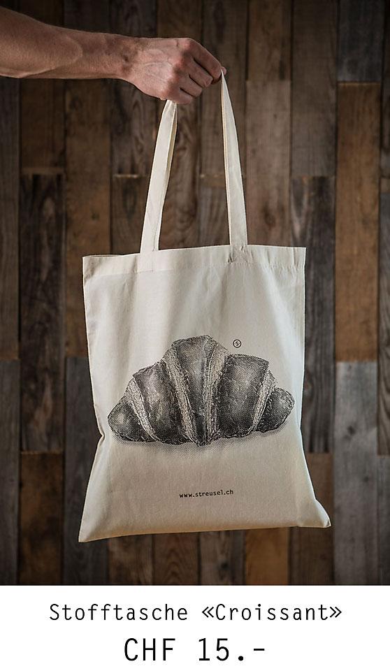 Lässige Stofftasche «Croissant» von Streusel – die Stofftasche mit Croissant-Aufdruck. Jetzt bestellen!