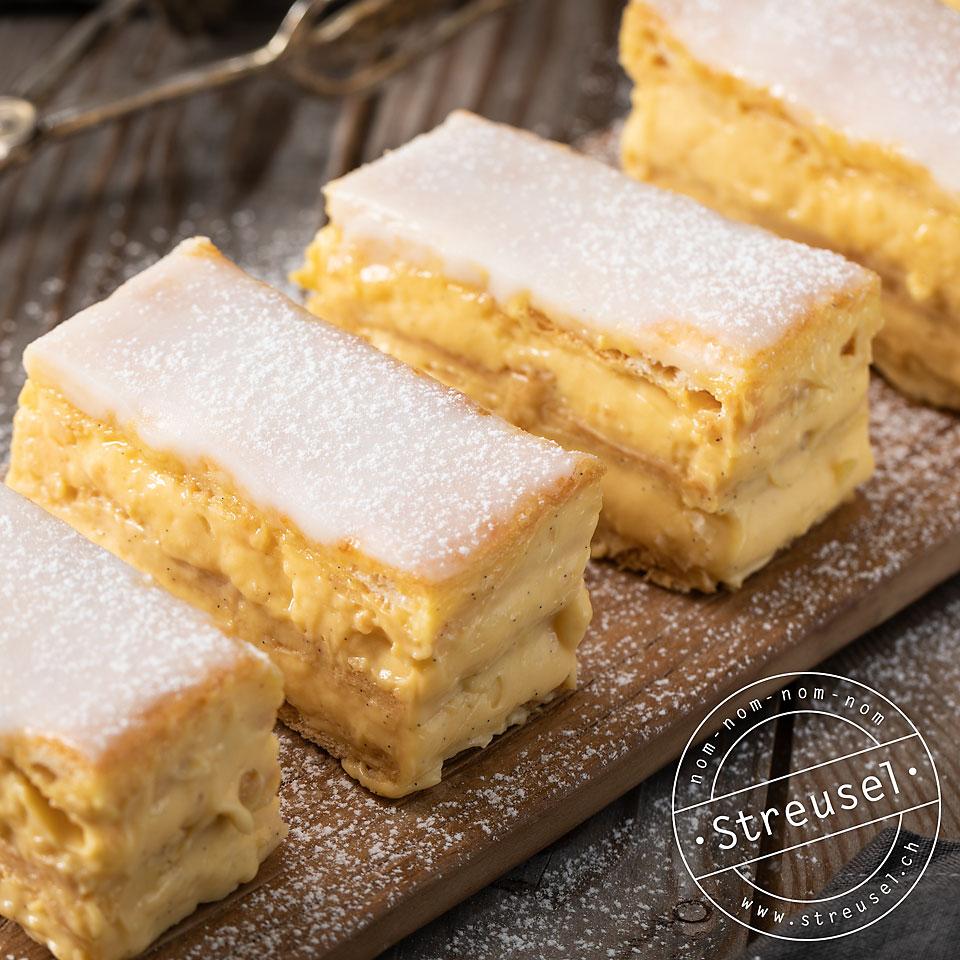 Rezept für Cremeschnitten gefüllt mit Vanillecreme / Vanillepudding – selber machen