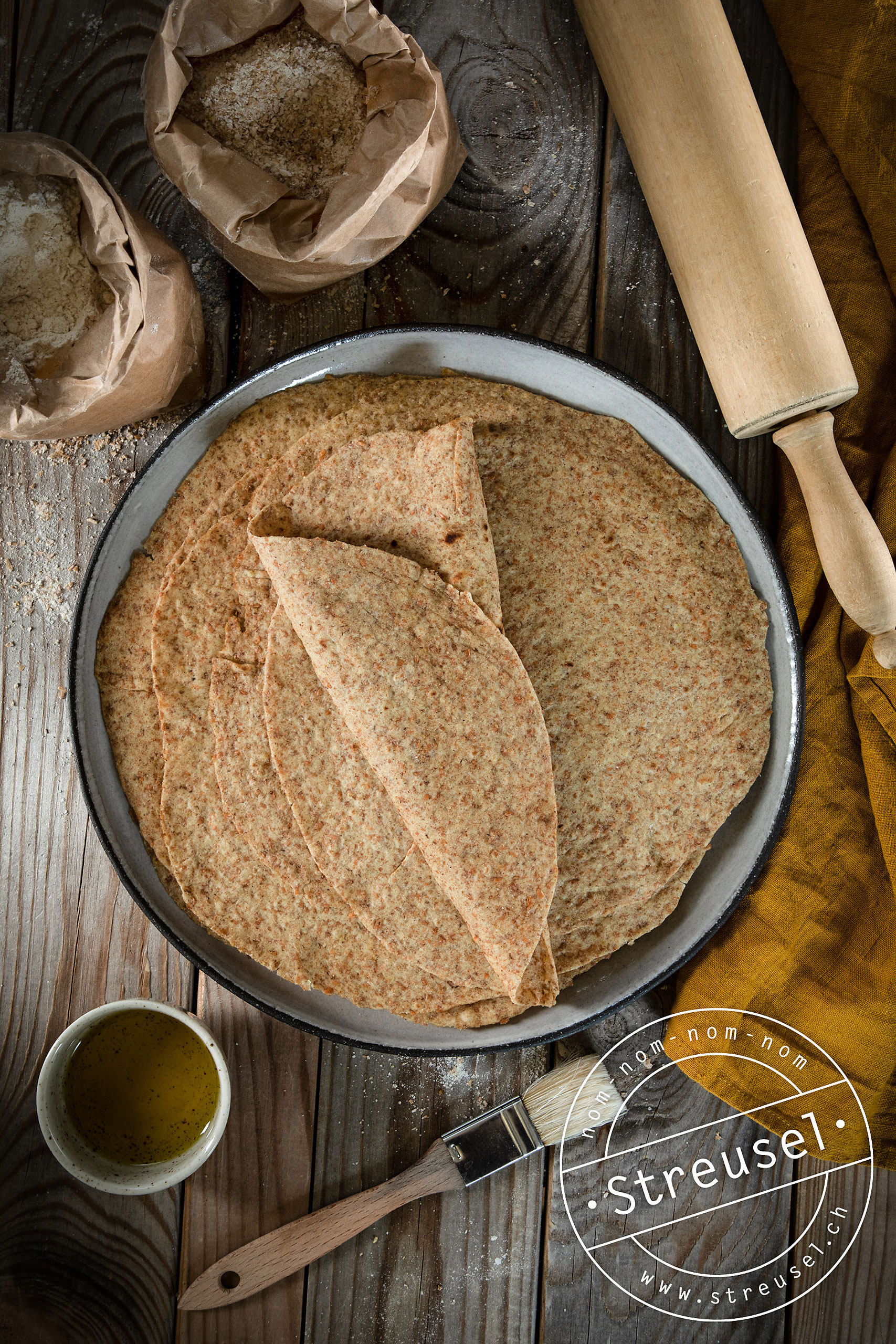 Rezept für selbst gemachte, weiche Vollkorn-Tortillas.